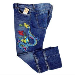 Lauren Jeans Co St Tropez Embroidered Dragon Jeans